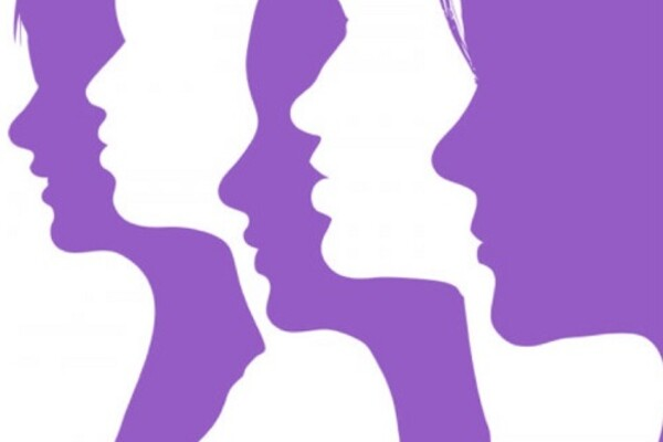 four profiles of women in white and purple ink