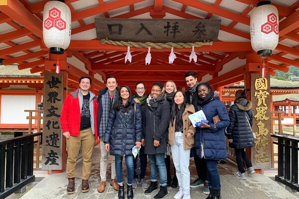 Penn students visiting a temple in Japan
