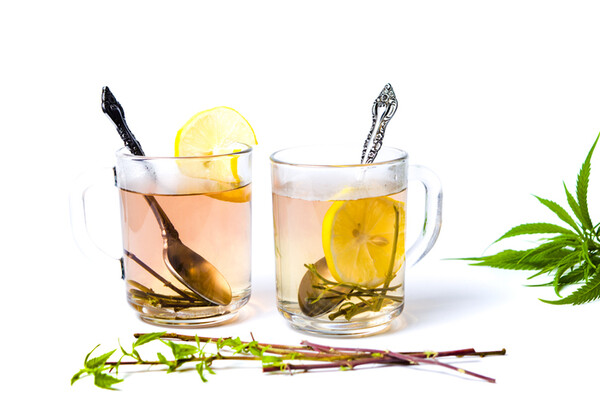 two cocktails in mugs with lemon slices and cannabis plant leaves