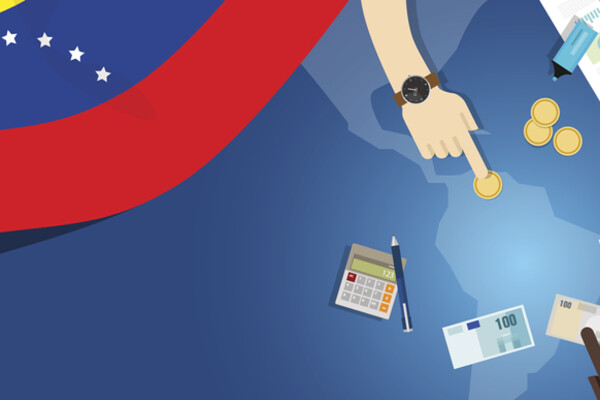 Venezuela economy, fiscal money trade concept illustration of financial banking budget with flag map and currency