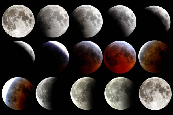 series of photographs of the moon showing it in different phases, including its transition from gray to red