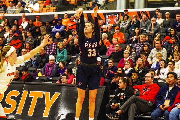 Junior guard Phoebe Sterba shoots a long-range shot against Princeton in New Jersey.