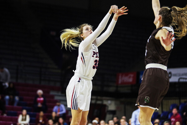Junior guard Phoebe Sterba shoots a jump shot against Brown at the Palestra.