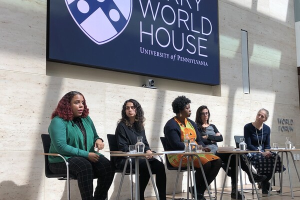 "Panelists at the ""Grassroots Organizing in the MeToo Era"" at Perry World House"