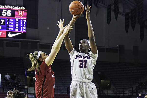 Sophomore forward Eleah Parker shoots a shot at the Palestra.