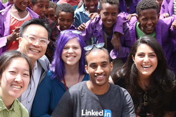 Wharton students with Ethiopian school children