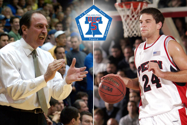 A composite of former men's basketball coach Fran Dunphy and former standout forward Mark Zoller.
