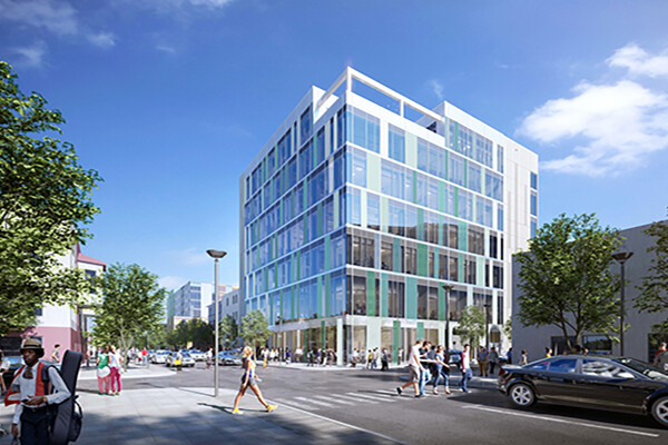A rendering of the new Tangen Hall building on the corner with pedestrian and auto traffic.
