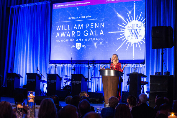 amy gutmann accepting the william penn award