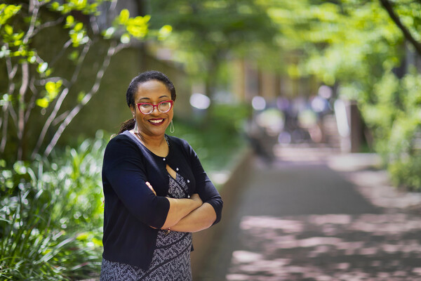 Ebony standing along Locust Walk