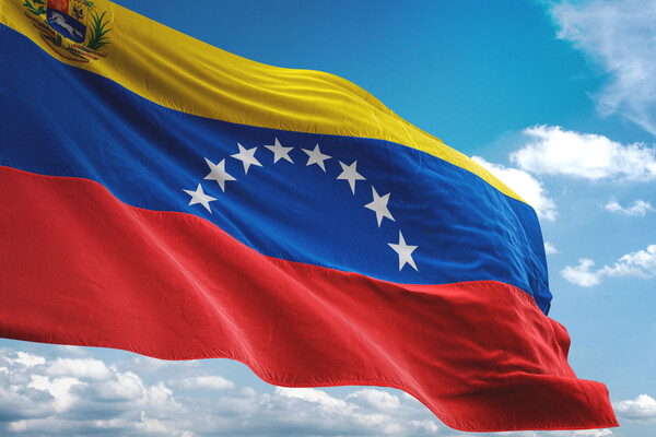 Venezuelan flag flying