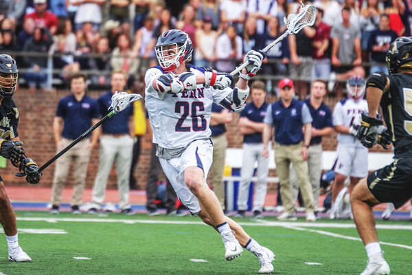 Sam Handley shoots the ball against Army during a first round NCAA game at Franklin Field.