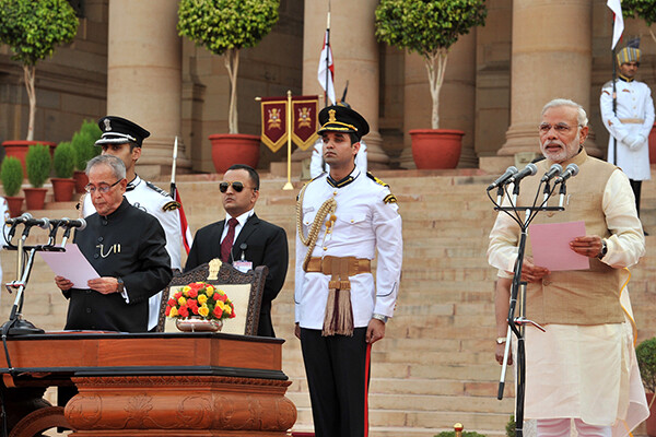 Shri Narendra Modi sworn in as Prime Minister in 2014.