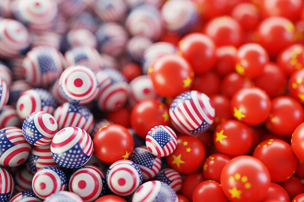 Pile of rubber balls decorated like US and Chinese flags