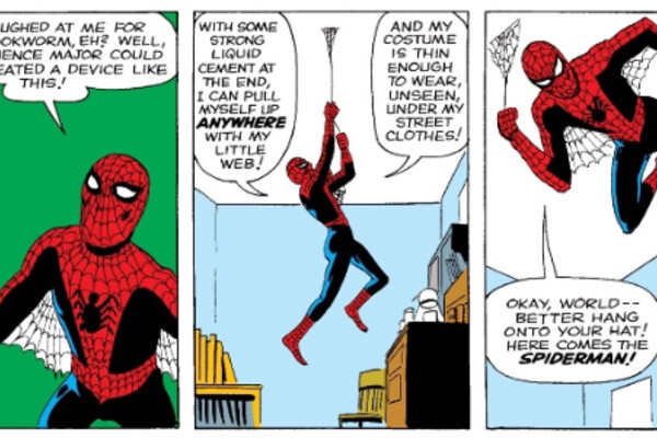 comic panels where spider man talks about making his own silk