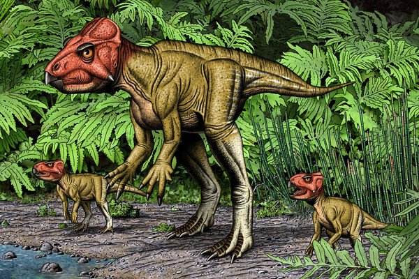 adult dinosaur with frill on skull characterized by penn paleontologists is standing on two legs and flanked by two smaller dinosaurs on the water's edge