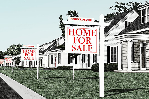 Row of homes with Foreclosure Home For Sale signs on each lawn.