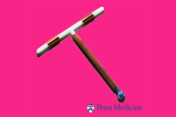 Copper IUD against a neon background and Penn Medicine logo