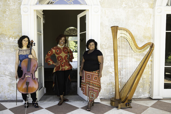 Three people posing by a doorway with a cello and harp