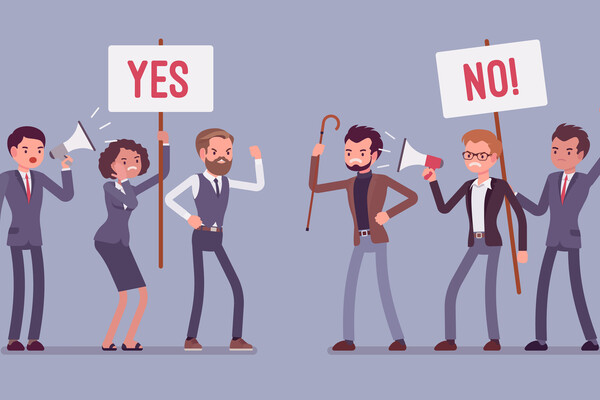 "A cartoon drawing of six people. Two are holding megaphones, one is holding a sign that says ""Yes,"" one is holding a sign that says ""No,"" and one is holding a cane."