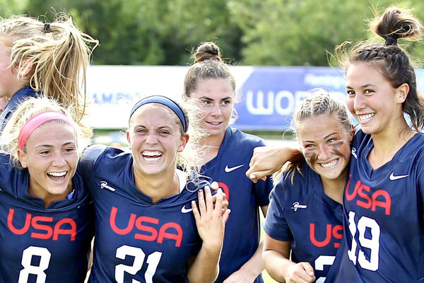 Michaela McMahon, far right, celebrates with her Team USA U19 squad after winning the gold medal.