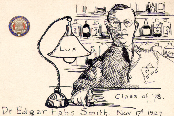 Cartoon drawing of Edgar Fahs Smith in a lab circa 1927