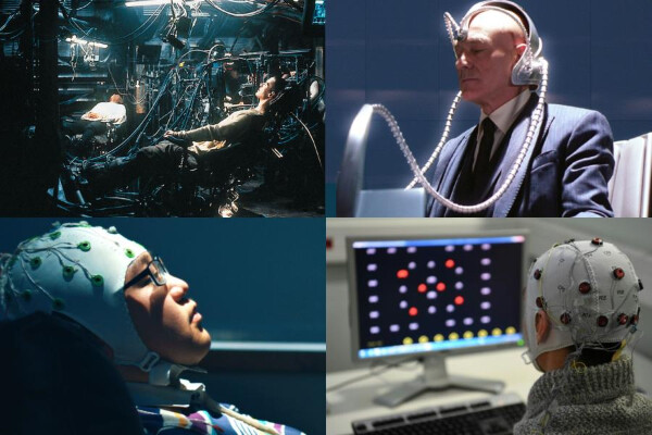 from top left to bottom right, scene from the film The Matrix with Neo and Morpheus plugged into machines while laying back in chairs; Professor X wearing Cerebro, a person wearing a cap covered in electrodes while watching a computer screen with dots, and a person wearing glasses leaning back in a chair wearing a cap with electrodes