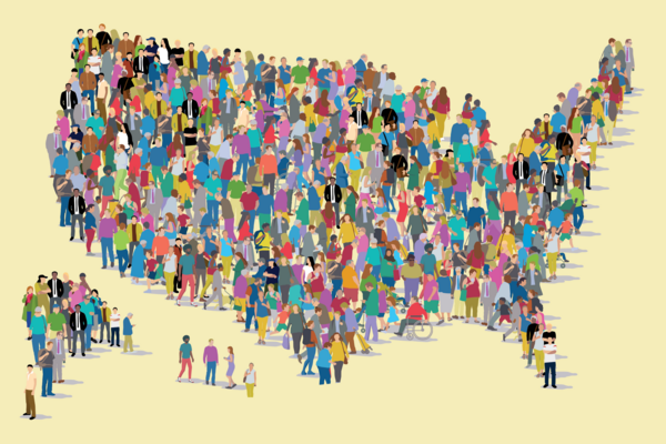 A grouping of colorful people in the shape of a United States map.