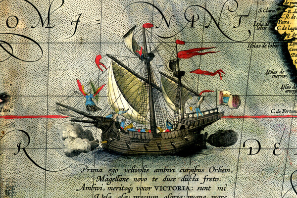 a ship in the middle of the Pacific ocean surrounded by text in latin