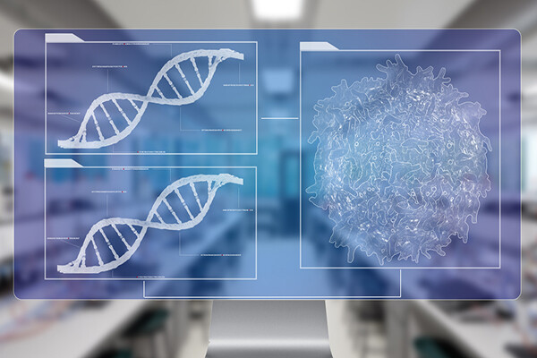 computer rendering of microscopic images of DNA helix on the left, a tumor on the right.