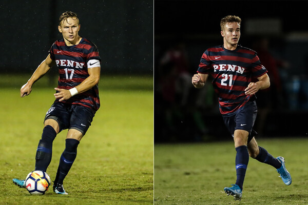 From left, Brandon Bartel of the men's soccer team, and Jack Rosener of men's soccer.