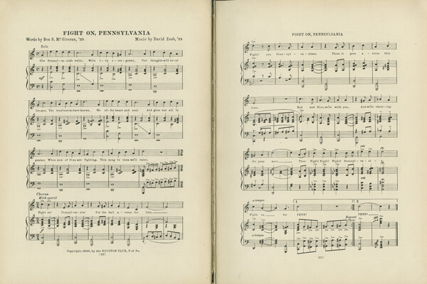 Two pages of sheet music for the song Fight On Pennsylvania.