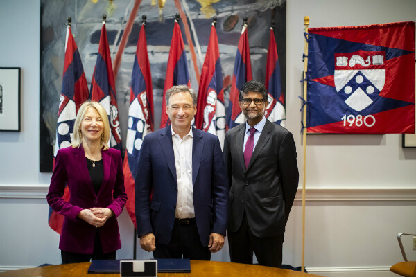 President Amy Gutmann, alum Harlan M. Stone, and Penn Engineering Nemirovsky Family Dean Vijay Kumar (left to right) at the gift agreement signing to support the construction of a new Data Science Building. Photo by Eric Sucar, University Communications.