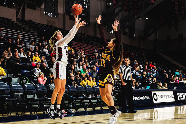 Against Iona at the Palestra, senior guard Phoebe Sterba shoots a three-pointer.