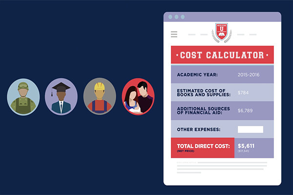 Film still of college cost calculator next to icons of a military member, a graduate, a construction worker and a couple with a baby