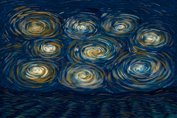 nine spirals of yellow and white over a dark blue impressionist background, with darker lines of waves along the bottom of the image