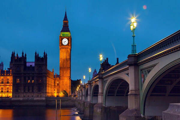 The Palace of Westminster and Big ben in London