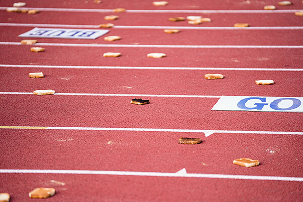 Slices of toast thrown onto the track at Penn's football stadium.