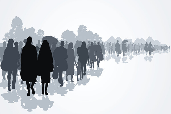 rendering of silhouettes of refugees walking with children and a few possessions.