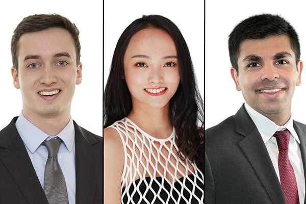 Penn's new Schwarzman Scholars are senior Andrew Howard (left), master's student Zinan Chen (center), and 2017 graduate Malik Abdul Majeed.