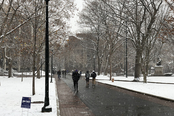 Snowfall on Locust Walk with small Give Back sign on lawn