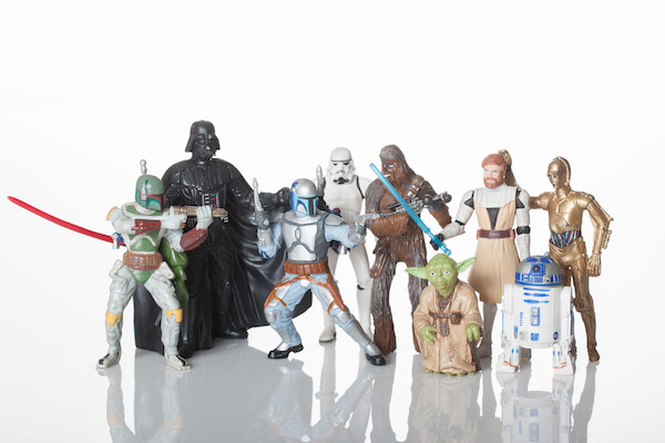 An array of plastic Star Wars figurines