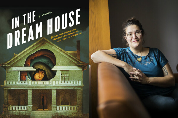 Author Carmen Machado sitting on a sofa by a window and the cover of her memoir In the Dream House with an illustration of a house with a person looking out