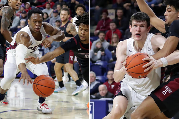 A composite of Jordan Dingle, left, and A.J. Brodeur playing against Temple at the Palestra.
