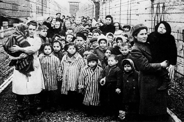 Children liberated in the Auschwitz concentration camp, 1945