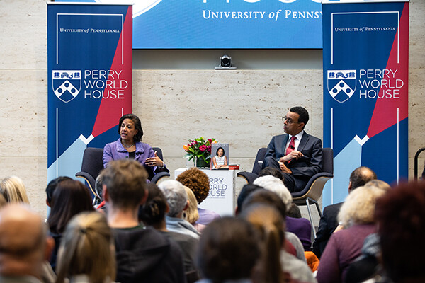 Susan Rice on stage at Perry World House with Provost Wendell Pritchett