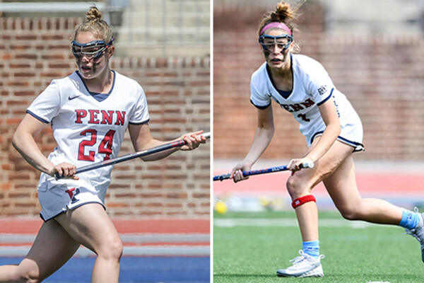 A composite of Gabby Rosenzweig, left, and Abby Bosco. Both are moving on the field with their sticks during a game.