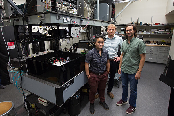 Tzu-Yung Huang, Lee Bassett and David Hopper in the Quantum Engineering Laboratory.