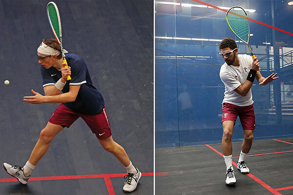 A composite shows Andrew Douglas, left, and Aly Abou Eleinen getting set to hit a ball with their racquets during a game.