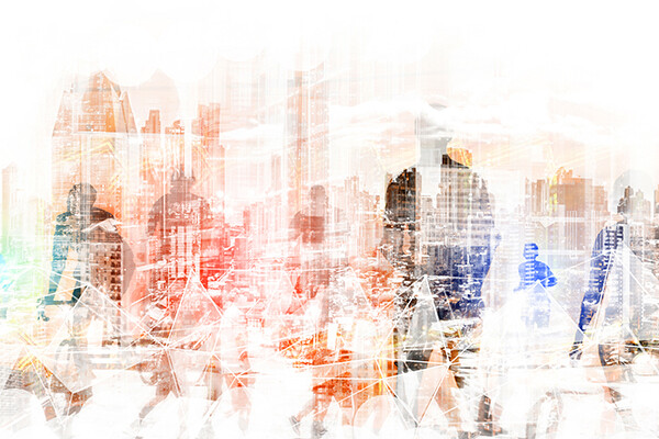 Abstract rendering of cities and people overlaid over each other